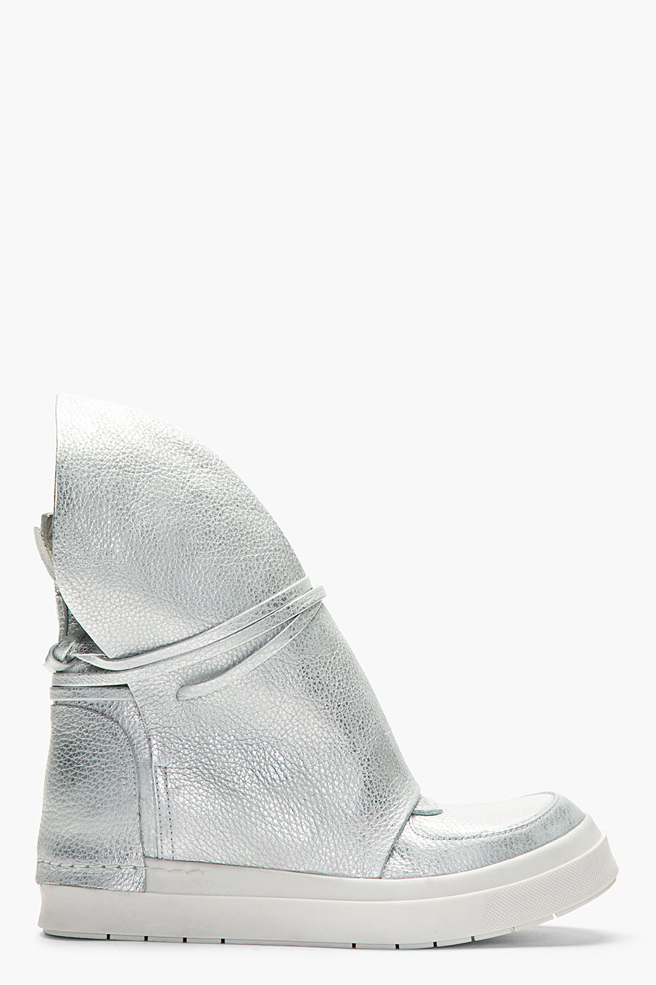 Ca by cinzia araia silver slouchy leather high_top wedge sneakers
