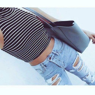 jeans ripped high waisted jeans crop tops stripes girly cool cute top