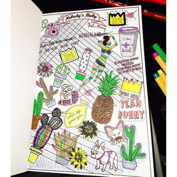 Home Accessory Yeah Bunny Colorme Cactus Dog Pineapple Coloringbook Colorful Yeahbunnycolorme Tumblr