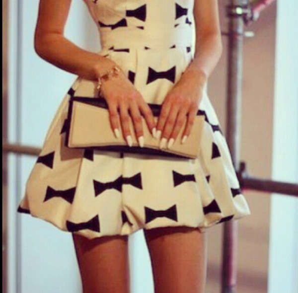 dress nude white black bows