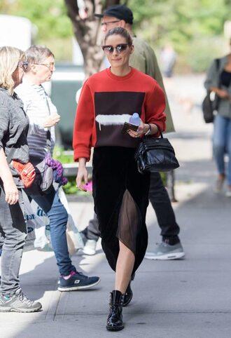 skirt midi skirt sweater blogger streetstyle olivia palermo ankle boots sunglasses fall outfits velvet skirt velvet