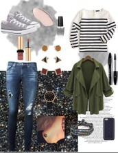 sweater,sweatshirt,jacket,green jacket,sportswear,high top converse,grey converse,ripped jeans,casual,outfit,outfit idea,iphone cover
