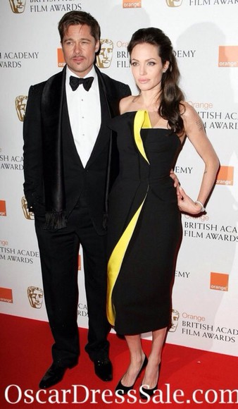 dress angelina jolie black yellow stripe,