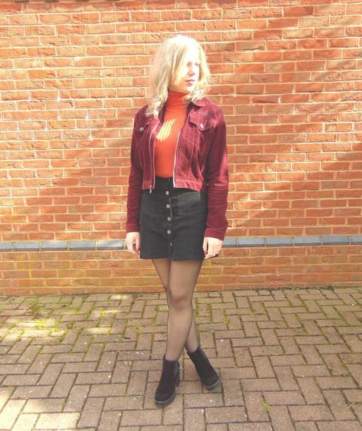 the velvet black grunge blogger black skirt red jacket jacket sweater skirt shoes