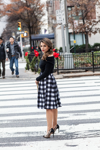 the corporate catwalk blogger midi skirt gingham off the shoulder sweater sweater skirt shoes