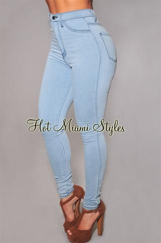 Light Blue High Waist Skinny Jeans