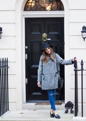 love of cloth,blogger,jeans,fedora,coat,grey,grey coat,smoking slippers