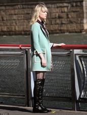 mint coat,mint,pea coat,retro,retro coat,white trim,shoes,tights,coat,gwen stacy