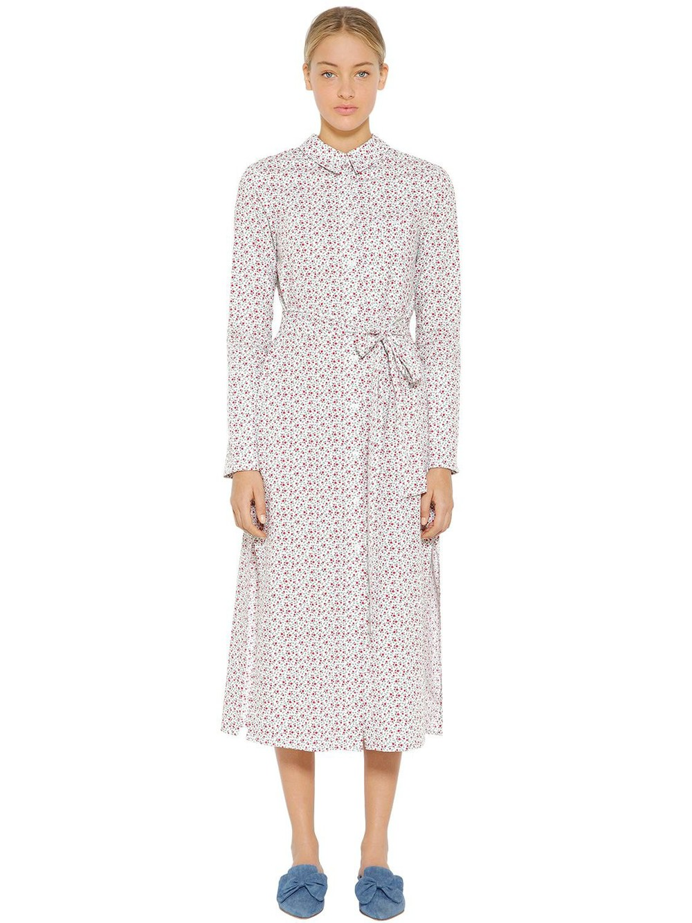 VIVETTA Floral Printed Cotton Poplin Shirt Dress in ivory