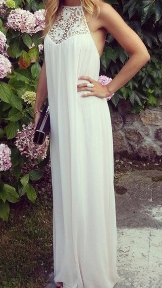 long dress white dress elegant long gorgeous cool casual