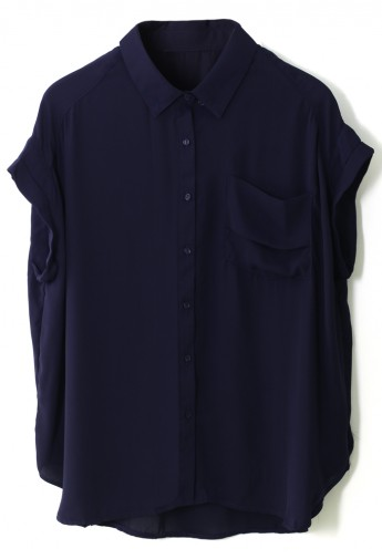 Pocket Relaxed Chiffon Shirt in Navy  - Retro, Indie and Unique Fashion