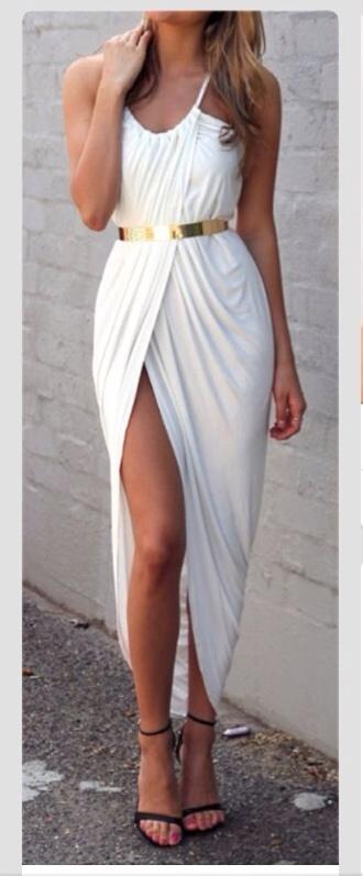 dress greek goddess slit dress white dress sexy draped dress belt draped