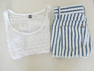 shorts srtipes white tank top blue lace shirt blouse top singlet crop stripes short short shorts cut off blue and white stripes sailor style navy navy blue and white stripes white shirt lacy top white crop tops summer cute cool amazing spain pants hipster vintage retro beautiful white tank top blue and white striped t-shirt