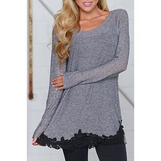 top grey fashion style trendy long sleeves stylish scoop neck black lace spliced hem loose t-shirt for women casual rose wholesale-dec
