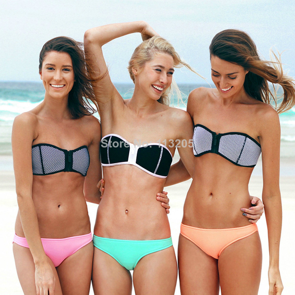 2014 New Fashion Sexy Triangl Neoprene Bikini, Retro Bra Bandeau Zipper Neoprene Bikini Swuisuit Set Free Shipping-in Bikinis Set from Apparel & Accessories on Aliexpress.com