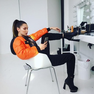 jacket bella hadid bomber jacket orange bomber jacket fashion model style orange shoes
