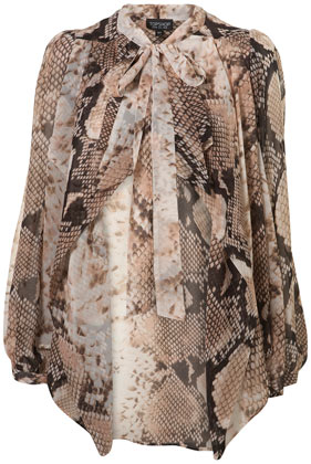 Snake print waterfall blouse
