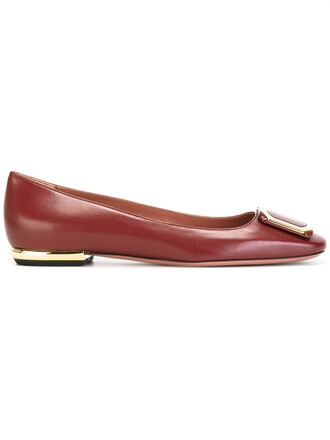 women leather red shoes