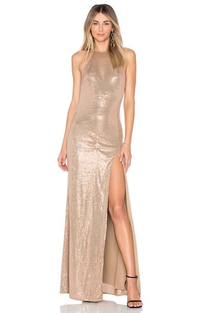 X BY NBD gown metallic bronze dress