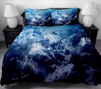 doona bedding clouds storm sheet blanket bedroom sky hipster indie top pillow home accessory cloud pattern sky print sky pattern blue clouds comforter blue white black cloud bed tumblr tumblr bedroom blue cloud pillow boho comforter
