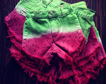Highwaisted Watermelon Ombre Dyed shorts, denim, distressed, hand painted puff paint seeds
