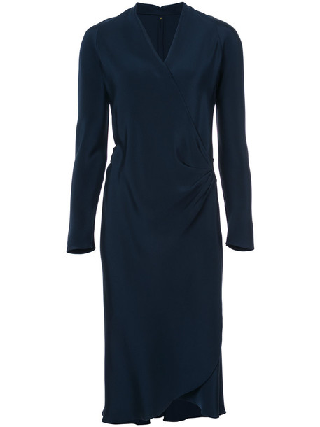Peter Cohen dress wrap dress long women blue silk