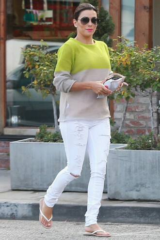 white jeans ripped jeans eva longoria sweater flip-flops white ripped jeans