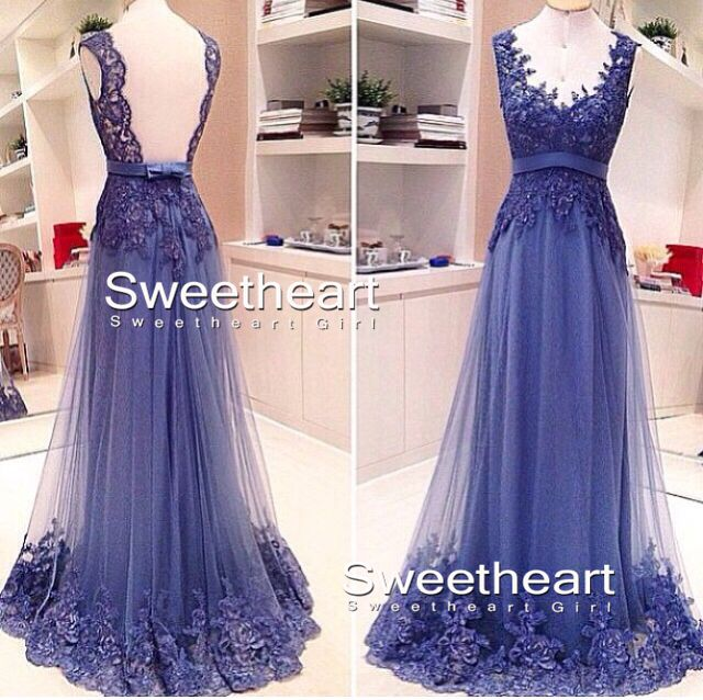 Round neckline lace long prom dress, formal dress
