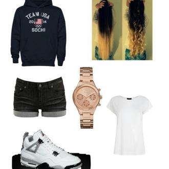 sweater shorts gold watch watch gold jordans shirt white shirt