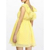 dress,mixmoss.com,mixmoss dress,dot dress,chiffon,chiffon dress,yellow,summer,summer dress