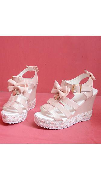 heart shoes kawaii high heels buckle