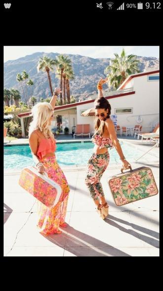 skirt tropical print pants pants tropical bag brunette blonde hair summer top