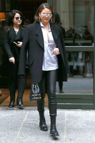 pants shirt blazer black blazer chrissy teigen