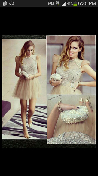 nude dress beaded short dresses beaded sleeved dress pearl beige dress