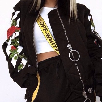 jacket black white rose streetstyle