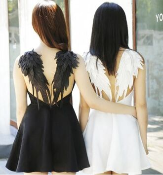 dress black dress boho dress white dress wings angel wings lolita cute kawaii summer dress
