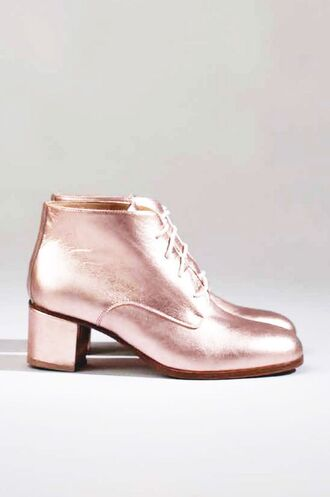 shoes shimmer pink pink shoes shiny mid heel boots lace-up shoes boots derbies