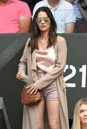jacket,olivia munn,shorts,top,coat,summer,summer outfits,bag,sunglasses,trench coat