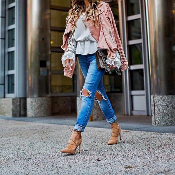 6bbf617a49cb jeans tumblr pink dress top ripped jeans blue jeans high heels lace up heels  nude shoes