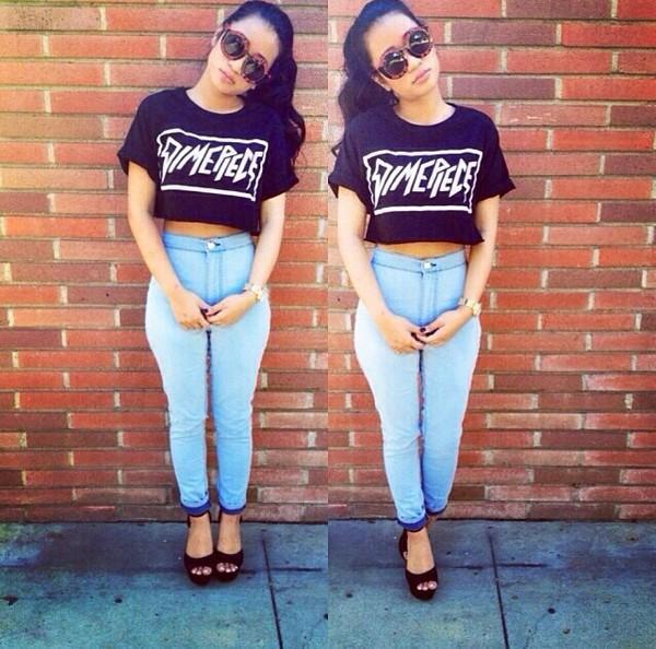 pants blue high waisted jeans shirt shoes sunglasses