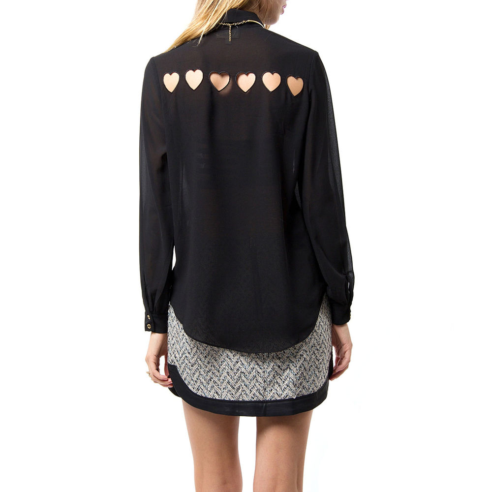 Black Heart Cut Out Back Sheer Chiffon Button Up Blouse Gold Buttons s M L | eBay