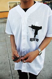 shirt,baseball,mesh,button up,white,black,baseball jersey,baseball tee,gun,korean fashion,jersey,dope,tumblr,grunge,streetwear,chinese,chinese writing,jacket,mens t-shirt,clothes,asian symbols,white button up top,asian design,swag,chinese symbols,blouse,japanese,t-shirt,top,cyber ghetto,baddies