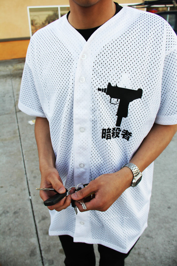 shirt baseball mesh button up white black baseball jersey baseball tee gun korean fashion gun jersey dope tumblr grunge streetwear chinese chinese writing jacket mens t-shirt clothes asian symbols white button up top asian design swag chinese symbols blouse japanese t-shirt t-shirt top streetwear t-shirt cyber ghetto baddies