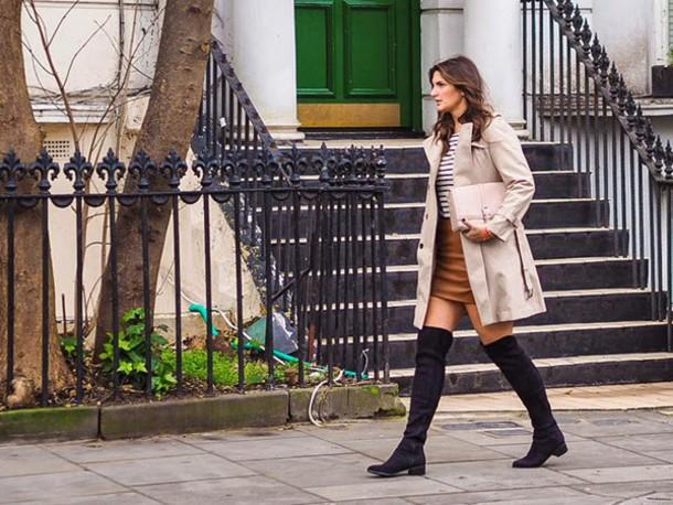 fashion foie gras blogger trench coat beige leather skirt shoes bag coat top
