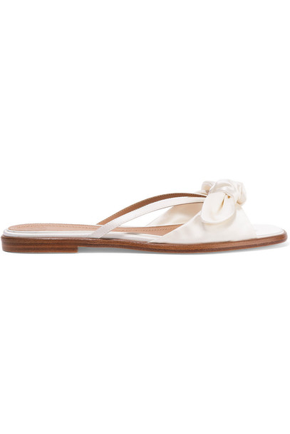 The Row April Bow-Embellished Silk-Satin Sandals in white