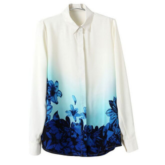 blouse floral shirt white blouse gradient floral turn-down collar fall outfits