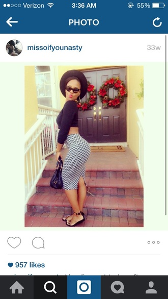 hat black hat black sandals black black sunglasses black crop top midi skirt black handbag top skirt sunglasses shoes