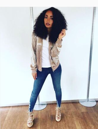 jacket bomber jacket jeans leigh-anne pinnock sandals wedges instagram skinny jeans little mix gold metallic shoes