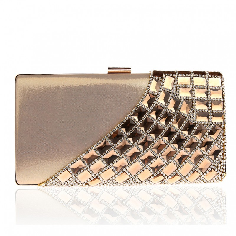 Gold Crystal and Rhinestones Clutch Bag | Baginning