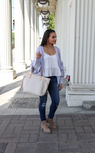 hashtagfablife blogger cardigan top jeans shoes jewels ankle boots louis vuitton bag skinny jeans fall outfits